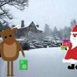 Santa and Rudolph delivering presents