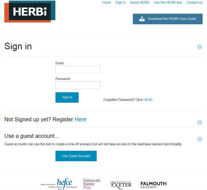 HERBi Login Page