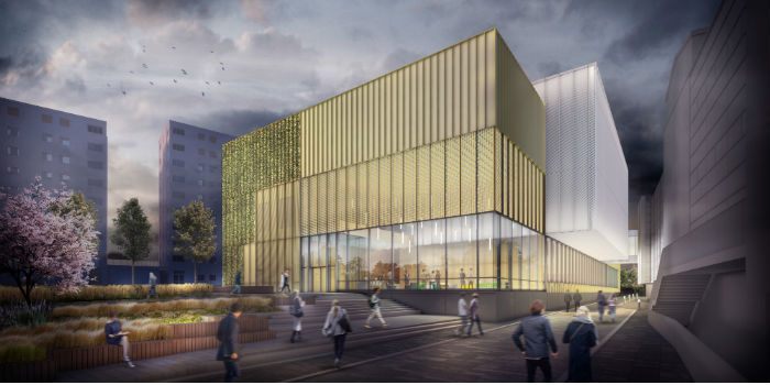 An artist's impression of the Newcastle University Sports Centre, which was the live project used within the tender process.