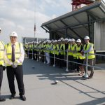 University of Northampton COO Terry Neville at the Waterside Campus topping out ceremony
