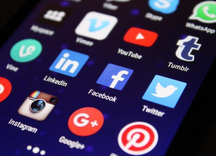 screen grab of phone screen showing social media apps