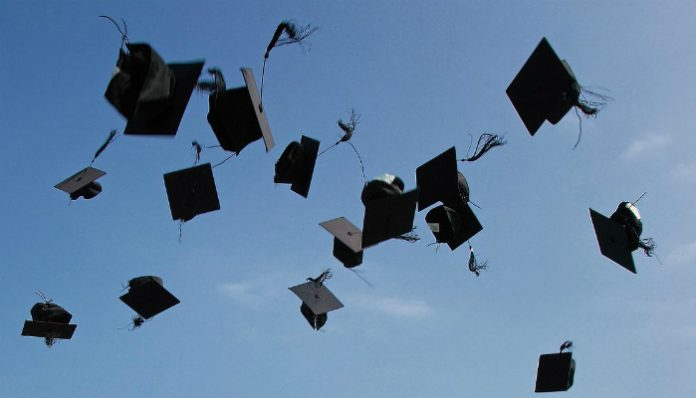 University mortar boards in the air